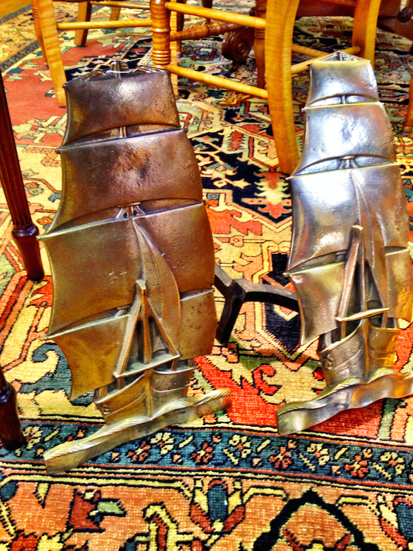 Brass ship andirons at Rafael Osona auction