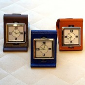 Verdura accessories | leather folding travel alarm clock
