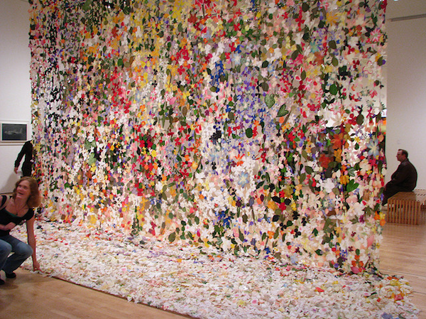 Jim Hodges curtain of flowers as inspiration for Lela Rose