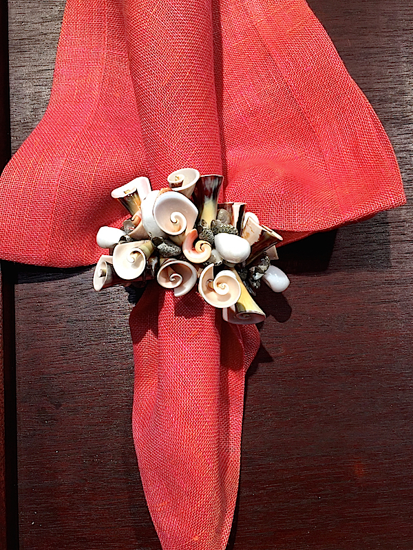 Kim Seybert Curly Shell Napkin ring and Salmon Chambray Gauze napkin