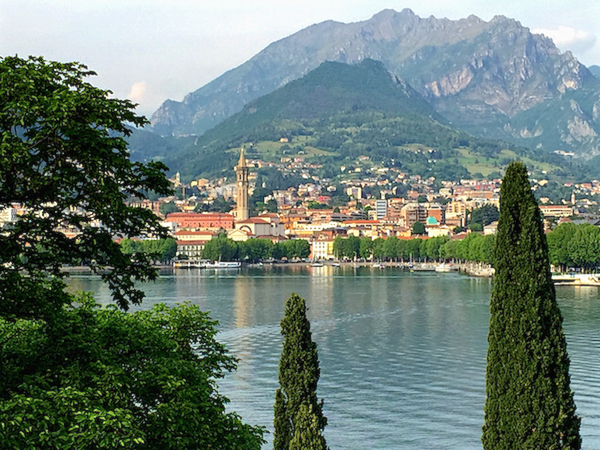Lecco, Italy from across lake