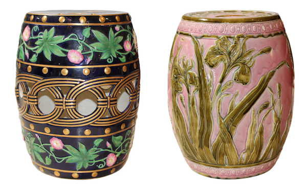 Majolica garden stools at the Stamford Antique & Artisan Center