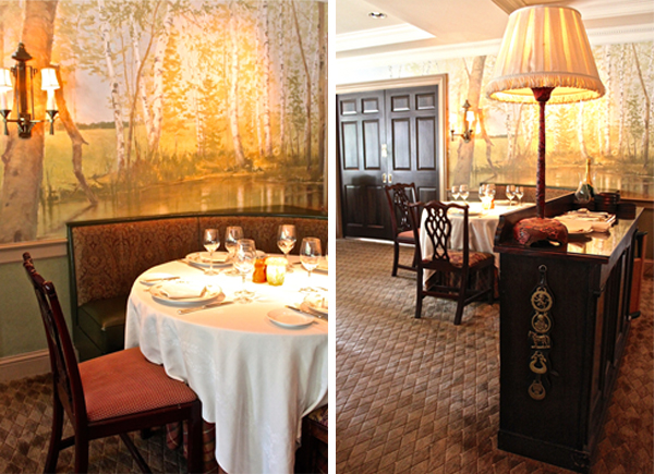 The murals at the Mayflower Inn dining room