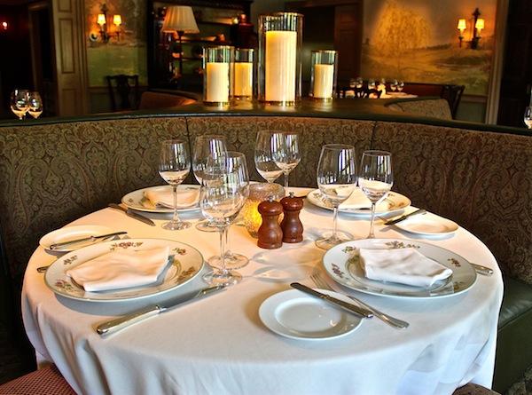 Dining room table at the Mayflower Inn