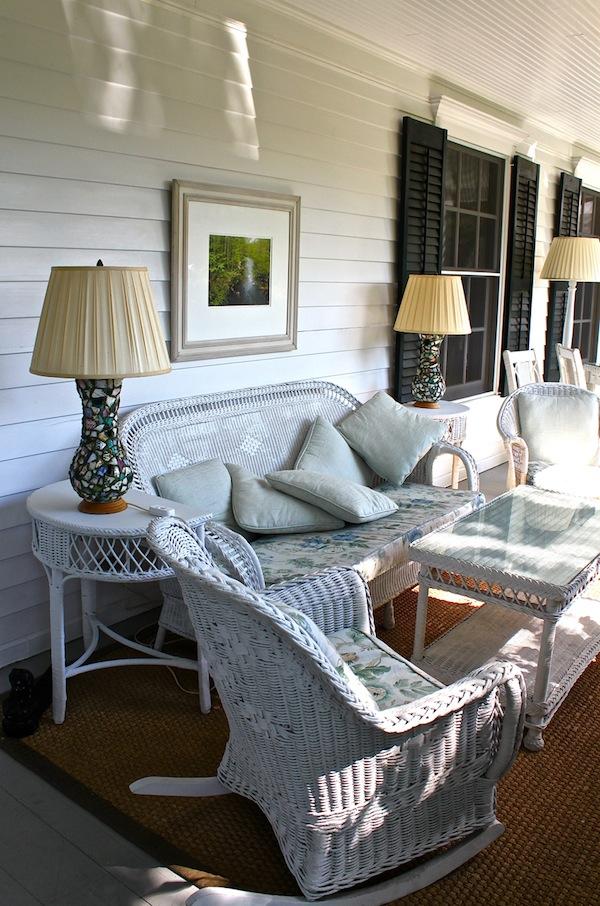 Wicker furniture at the Mayflower Inn