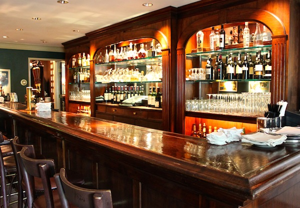 The bar in the top room at the Mayflower Inn