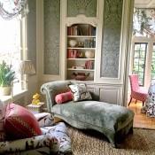 Nina Campbell bedroom at Greystone Mansion