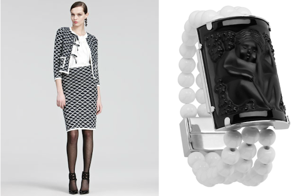 Oscar de la Renta fall outfit paired with Lalique jewelry