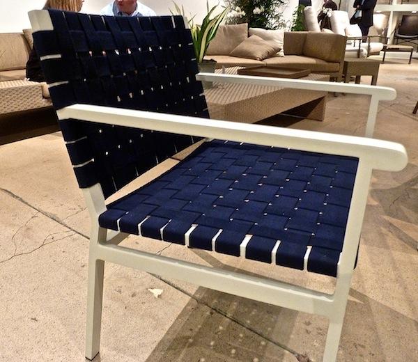 Blue Sunbrella webbing on Richard Frinier's Flex chair for Brown Jordan