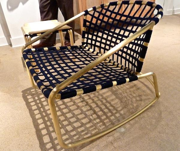 Blue sunbrella fabric on Richard Frinier Kantan chair for Brown Jordan