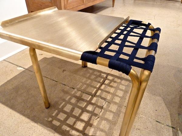 Blue Sunbrella fabric on Richard Frinier Kantan table for Brown Jordan