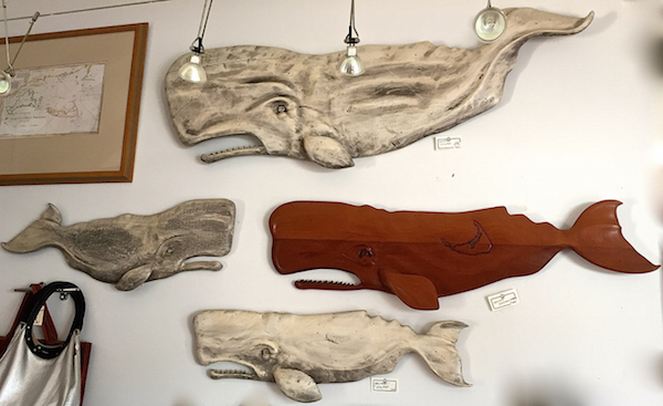Sunny Wood whale carving at SPACE Nantucket