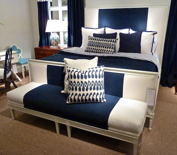 Blue and white by Suzanne Kassler at Hickory Chair at High Point fall 2012 market
