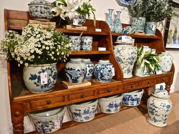 Blue and white ceramics at Van Thiel at High Point market