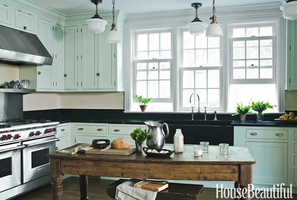 A new old kitchen by young huh in house beautiful for Best brand of paint for kitchen cabinets with old florida wall art