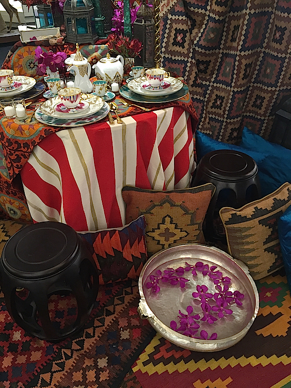 table set for summer entertaining by Kemble and Van Wyck at Michael C. Fina